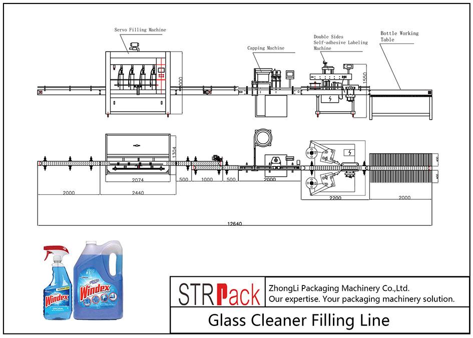 Automaattinen lasinpuhdistusaineen täyttölinja