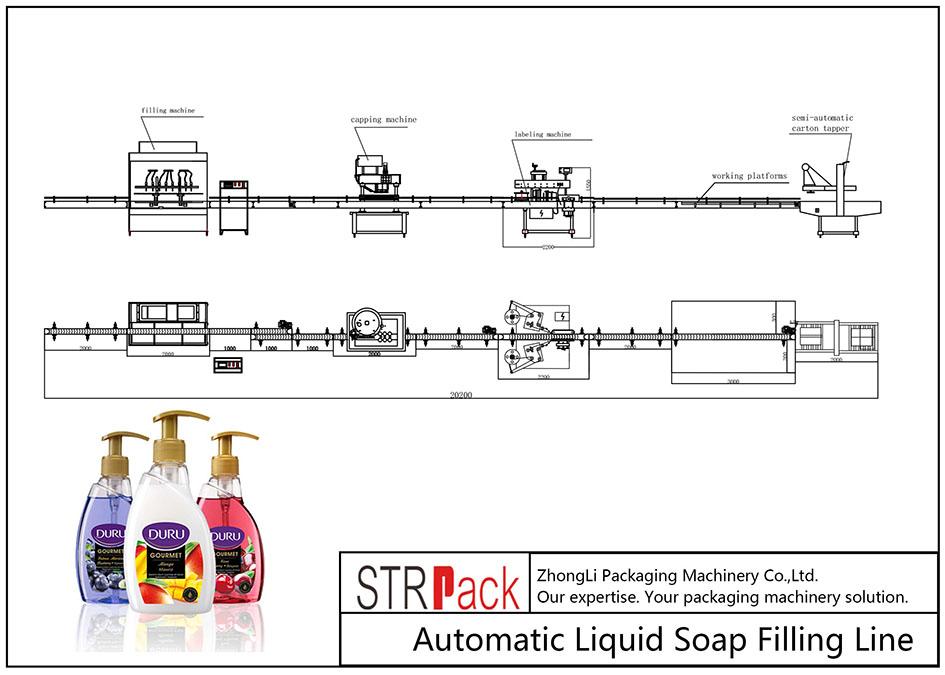 Automaattinen nestesaippuan täyttölinja