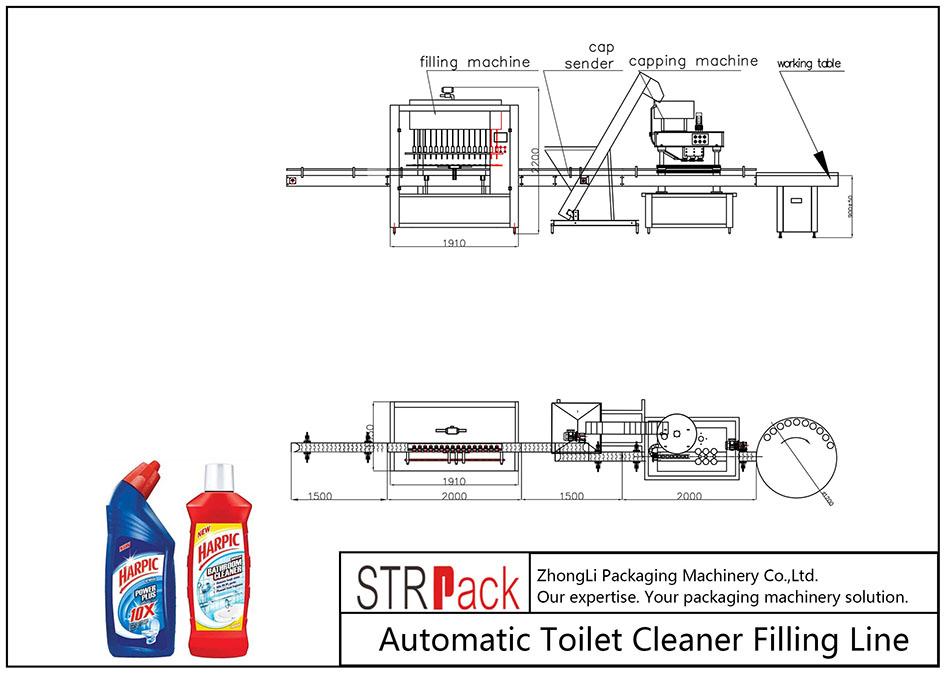 Automaattinen WC-puhdistusaineen täyttölinja